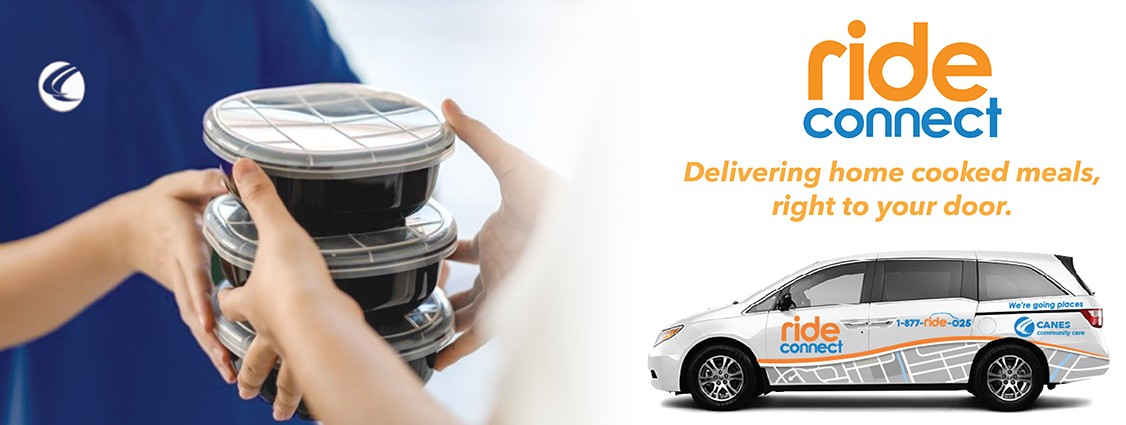 Ride connect service delivering home cooked meals right to your door. Click for more information.