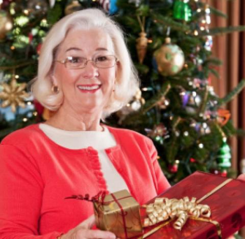 senior receiving gift